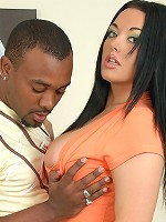 Jemstone gets her melons sucked and blowing on a black boner